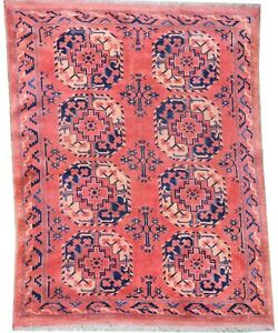 Oriental Carpet, Old handmade wool Afghan Ersari rug rusty colours 6.5 x 4.5 FT
