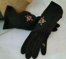 Vintage New Roger Fare Suede Black Floral Embroidered Driving Gloves Size 6.5
