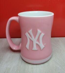 New York Yankees Pink Mug 14 oz MLB Sculpted Logo Relief pink Coffee Baseball