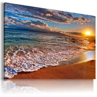PARADISE SUNSET BEACH OCEAN SEA View Canvas Wall Art Picture Large L169 MATAGA .