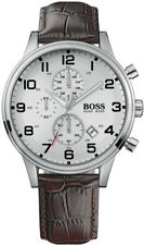 HUGO BOSS Aeroliner Herren Croc geprägt Lederarmband Chronograph Uhr 1512447