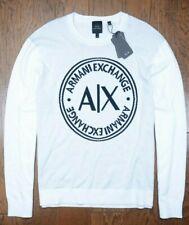 Armani Exchange A|X Men Signature White Crew Neck Cotton Sweater XL