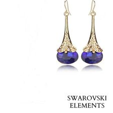 Boucles d'oreilles pendantes  gourde métal doré Swarovski® Eléments bleu saphir