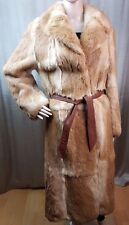 GORGEOUS FRENCH CONEY WOMEN'S REAL RABBIT COAT CREAM BEIGE M UK 12-14 BELTED