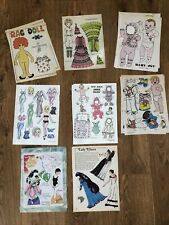 Lot Of 8 Paper Dolls Uncut Color Pages From Doll World Magazine, 1979-83