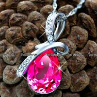 Unique Pink Diamond Crystal Necklace Pendant Xmas Gift for Her Women Mum Wife F6