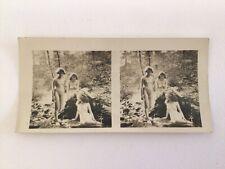 Stereoview albumen photo stereo card 3 nude women original 1890s ART