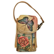Anuschka Cell Phone Case Leather Hand Painted Anna Art Butterfly Flower Strap