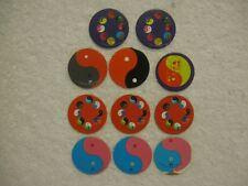 11 ~ Ying Yang Cardboard Pogs Milkcaps Bottle Caps Slammers Boys & Girls