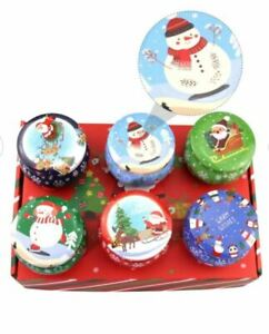 6 Christmas Candle Making Tins Tinplate Candy Jar Round Empty Christmas Gift Tin
