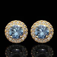 1.50CT Halo Simulated Aquamarine & Diamond Stud Round Earrings 14k Yellow Gold