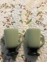 "2 Vintage Fire King Green/Black Footed Pedestal 5"" Coffee/Hot Chocolate Mug Lot"