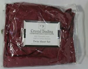 Crystal Trading 4 pc Bed Sheet Set - 100% Cotton Sateen - 400 Thread Count-Twin