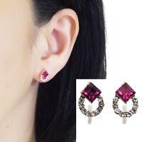 Pink Swarovski Hoop Rhinestone Crystal Invisible Clip On Stud Earrings
