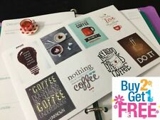 PP005 -- 8 pcs Coffee Inspiration Quote Life Planner Stickers for Erin Condren