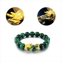 Feng Shui Green Stone Beads Bracelets Golden Color Changed Pixiu Charm Bracelet*