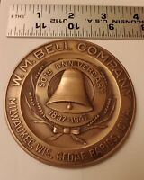 W. M. Bell Company 50th Anniv bronze medal 1897 - 1947 Milwaukee - Cedar Rapids
