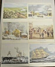 """Vintage Currier & Ives 6 Print Portfolio, """"The Old Homestead"""" """"A Disputed Heat"""""""