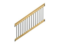 New 6 ft. Pressure-Treated Stair Railing Kit with Black Aluminum Balusters