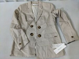 Calvin Klein Womens Double-Breasted Open Front Jacket Blazer Linen 10 Petites NE