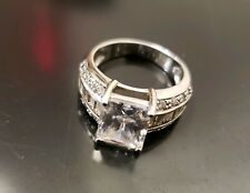 Platinum over silver Emerald-Cut cubic zirconia engagement anniversary Ring