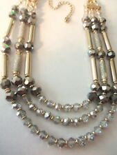 GORGEOUS VINTAGE CRYSTAL AND GOLD BEADED NECKLACE...SIGNED WITH C HANG TAG