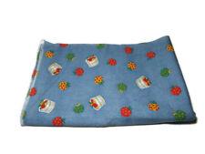 Vtg Cotton Blend Sewing Fabric Blue Background Apple Bushels Denim Look 2 yd