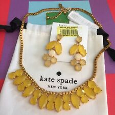 Kate Spade Gold Plated Yellow Marquee Short Necklace and Chandelier Earrings NWT