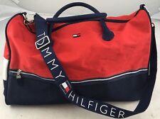 Tommy Hilfiger Duffle Bag Gym Big Flag Logo Shoulder Strap - NICE - 90s