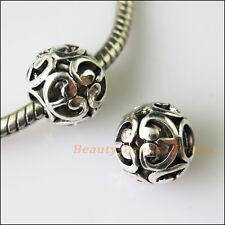 4Pcs Antiqued Silver Heart Spacer Beads fit European Charm Bracelets 11mm