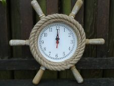 Ships wheel Clock Wooden With Rope - maritime Nautical Ship Boat Nice Size