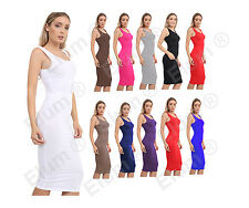 Womens Summer Sleeveless Stretch Plain Bodycon Ladies Midi Maxi Dress UK 8-14