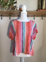 Anthropologie Maeve Boho Boheiman Blouse Size Small Top Colorful Short Sleeve