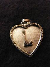 Colgante Corazón Medallón en PLATA Chapado Letra Del 2 cm