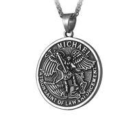 Saint Archangel Michael Catholic Patron Medal Steel Metal Chain Pendant Necklace