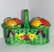 Marutomo Ware Fruits in a Basket Salt Pepper Cruet Condiment Set