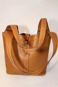 Delvaux France Made Womens Tan Leather Satchel Shoulder Tote Bag