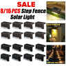 8-16Pcs Solar Powered LED Deck Lights Outdoor Path Garden Stairs Step Fence Lamp