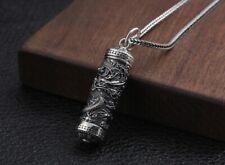 925 sterling Silver dragon pendant charm Cremation Capsule ash urn holder  S3001