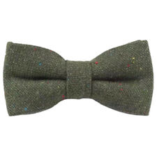 Olive Green Flecked Tweed Wool Pre-Tied Mens Bow Tie. Great Quality & Reviews.