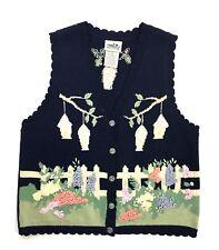 Northern Reflections Womens Vest Sz L Sleeveless Burton Blue Floral Birdhouse