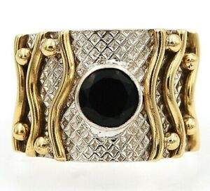 Two Tone Faceted Black Tourmaline 925 Sterling Silver Ring Sz 7.5 ED16-7