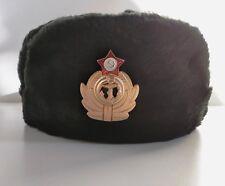 Chapka URSS Russe Sovietique Marine Chapeau Bonnet ski Fourrure noir