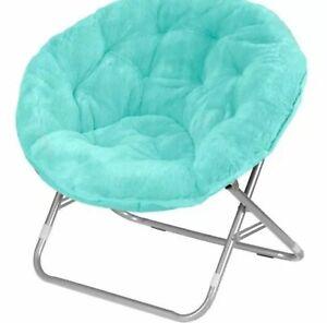 Mainstays Faux-fur Saucer Chair - Aqua