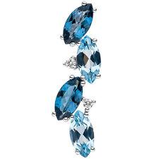 NEU 25 mm Edelstein Diamanten Anhänger blau 14 Karat 585 echt Gold Weißgold