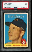 1958 Topps Baseball #28 JIM BUSBY Baltimore Orioles PSA 7 NM