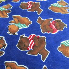 Vtg 80s cotton Corduroy fabric blue teddy bear baby print Bthy half yard cut
