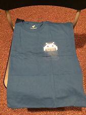 Teefury Men's LARGE Blue T-Shirt Pocket Invader Space Invader