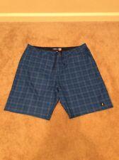 Men's Johnnie O Plaid Blue Swim Trunks Board Shorts Size 40 West Coast Prep