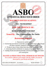 """NOVELTY ASBO - """" TONE DEAF """" **PERSONALISED FOR FREE!**"""